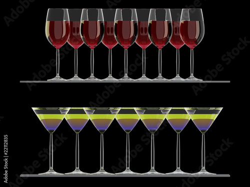 Wine glasses and cocktail glasses on the shelf isolated on black