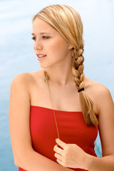 Blond woman with plaited hair