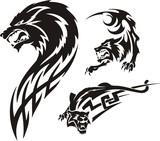 Three drawings of a wolf. Tribal predators. poster