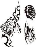 Head of a panther and a wolf. Tribal predators. poster