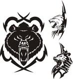 The brown bear, polar bear and wolf. Tribal predators. poster