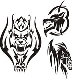 Aggressive lynx and two wolves. Tribal predators. poster