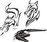 Crocodile, fox and wolf. Tribal predators. poster