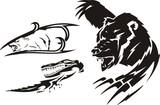 Crocodile, the brown bear and polar bear. Tribal predators. poster