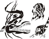 Crocodile, lion and panther. Tribal predators. poster