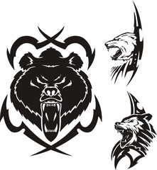 The brown bear, polar bear and wolf. Tribal predators.