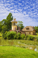 Marlborough Tower and pond of Versailles Chateau, France