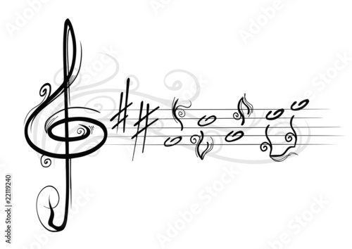 musical notes with curls