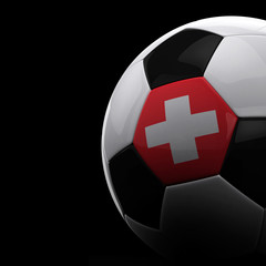Swiss soccer ball over black background