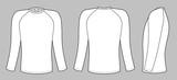 Raglan ujjú póló elszigetelt szürke háttér
