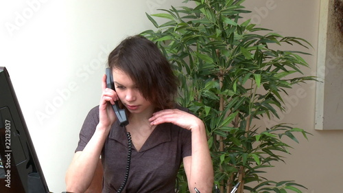 Irritate woman talking on phone