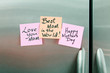 Happy Mothers Day Sticky Notes on a Refrigerator