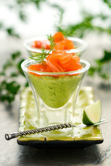 avocado cream and salmon
