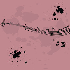 Pink background with music elements