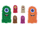 fury vector monster family in different colors poster