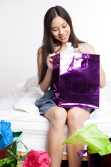 Asian shopping girl