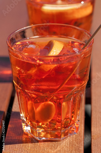 Two glasses with Spritz veneto, Sprizz, on the table