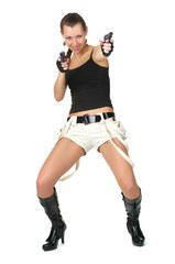 Attractive female with two handguns