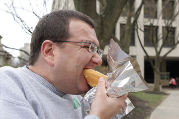 Eating fast food in New York