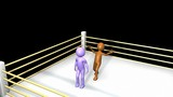 3D men fighting on a boxing ring in HD