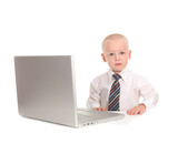 Little Businessman Working on a Laptop Computer