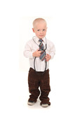 Professionally Dressed Child Pretending With a Stethoscope poster
