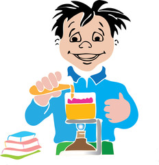 boy in laboratory of school