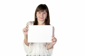 Teenage girl holding a paper on a white background