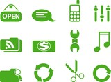 Green icon set. vector illustration