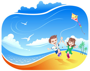 Girl and Boy running with kite on the beach