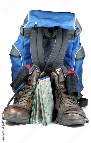 Leinwandbild Motiv 2 Wanderschuhe mit Karte und Rucksack
