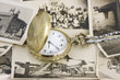 vintage pocket watch with b&w photo background