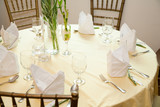 dining table set for a wedding or corporate event poster
