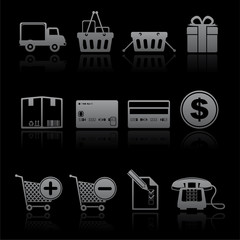 icon set shopping consume greyscale on black
