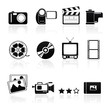 icon set photo video black on white