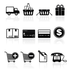 icon set shopping consume black on white