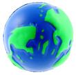 boule mousse globe terrestre anti-stress, fond blanc