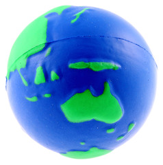 balle mousse globe terrestre anti-stress, fond blanc