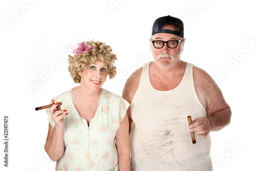 Homely couple with cigars