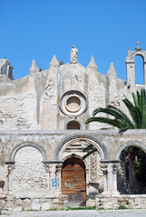 Entrance of the ruined San Giovanni church in Syracuse, Sicily