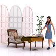 Frau in einem weißen Raum
