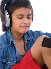 girl watching music video on smart phone