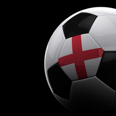 English soccer ball over black background