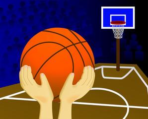 Ball throw in a basketball basket
