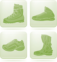 Olivine Square 2D Icons Set: Sport Shoes
