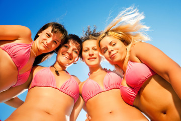 smiilng bikini girls