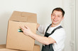 Mover with boxes in the course of relocation