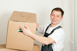Mover with boxes in the course of relocation poster