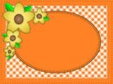 Vector Eps10.  Oval Orange Copy Space with Yellow Flowers poster