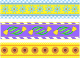 Vector Eps10.  Borders with Flowers, Stripes, Dots and Gingham poster